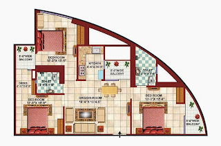 Apex Tower :: Floor Plans,3 BHK 3 Bedrooms, 2 Toilets, Kitchen, Drawing, Dining, 3 Balconies Super Area - 1475 Sq. Ft.