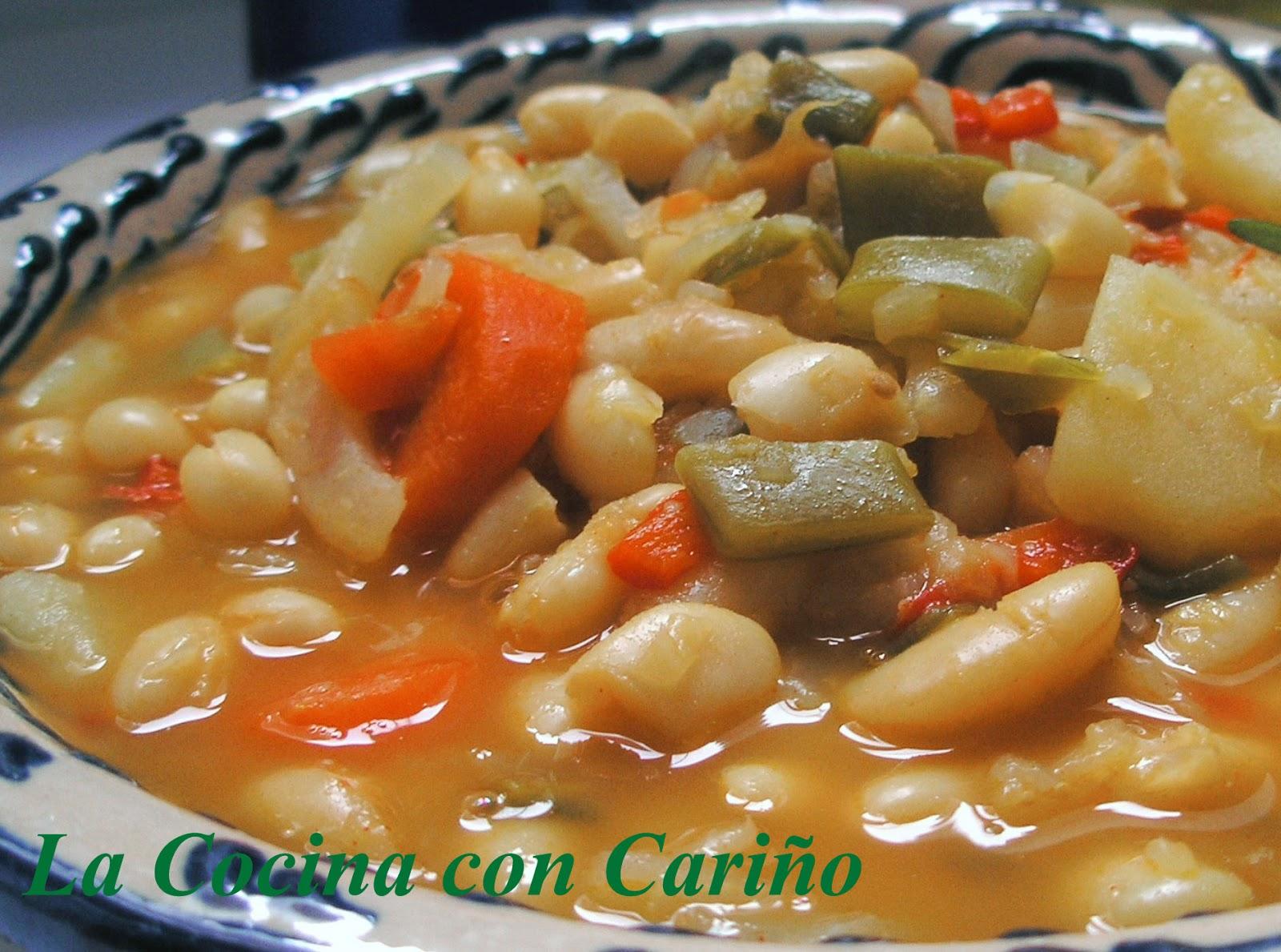 la cocina con cari o potaje de alubias con verduras