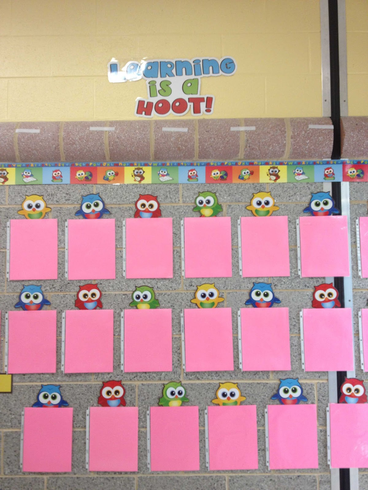put student work on display in each sheet protector.