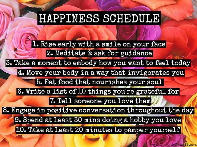 Happiness Schedule | www.elisemcdowell.com