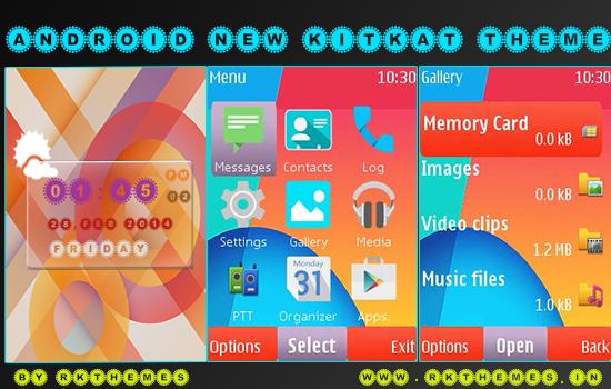 Android New Kitkat Theme for Nokia S40 v3/5 240*320 Phones ~ RKThemes ...