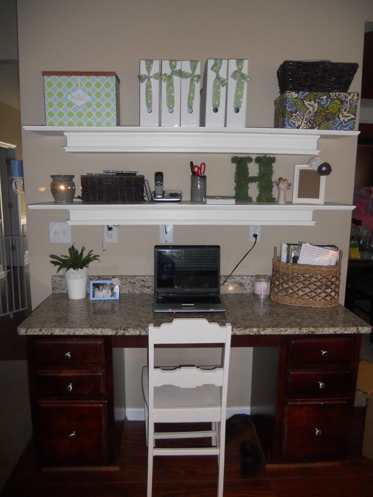 Shelves above desk home design mannahatta life in the heald house pintrest addiction busy hubby amipublicfo Images