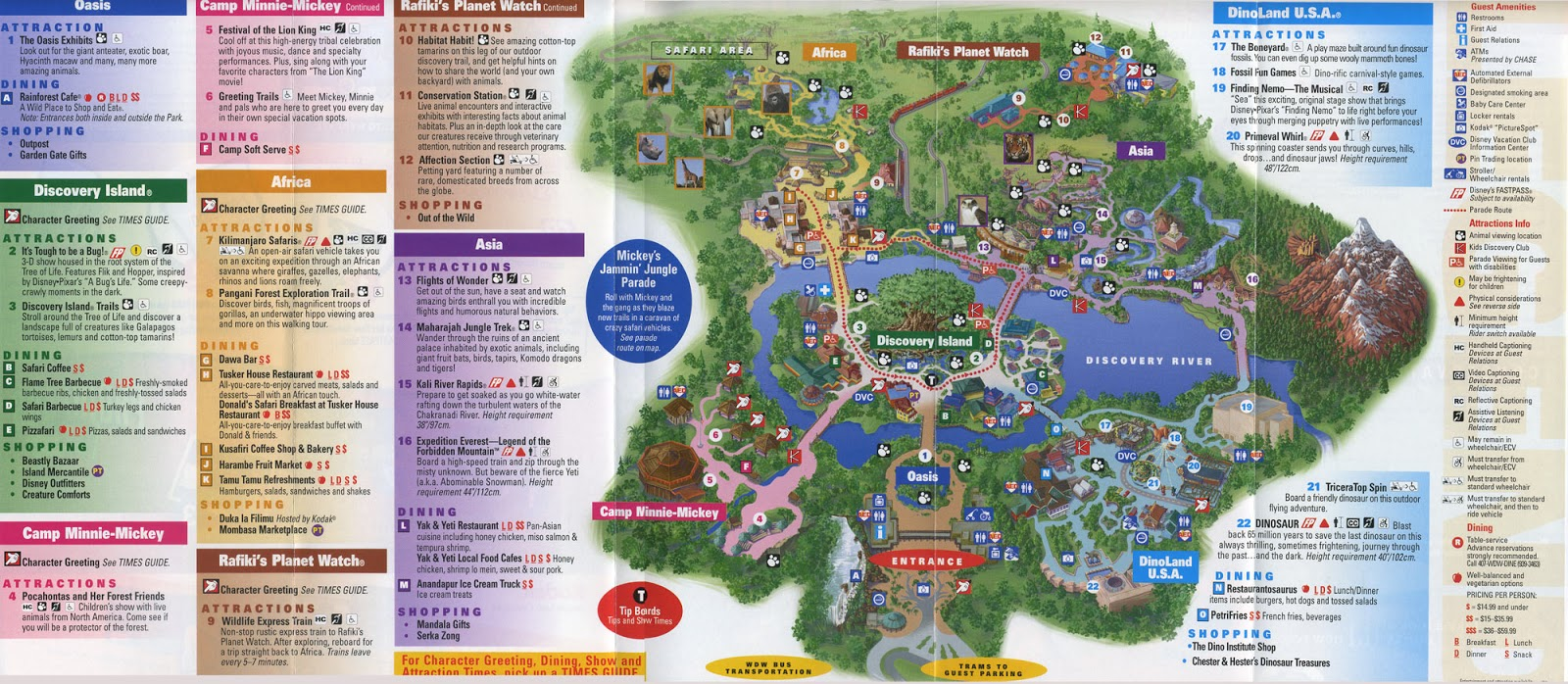 the 2008 edition of the animal kingdom map reveals what replaced tarzan rocks in the theater of the wild finding nemo the musical