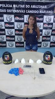 CIDADES - ROCAM detém mulher por tráfico de entorpecentes no bairro Nova Floresta