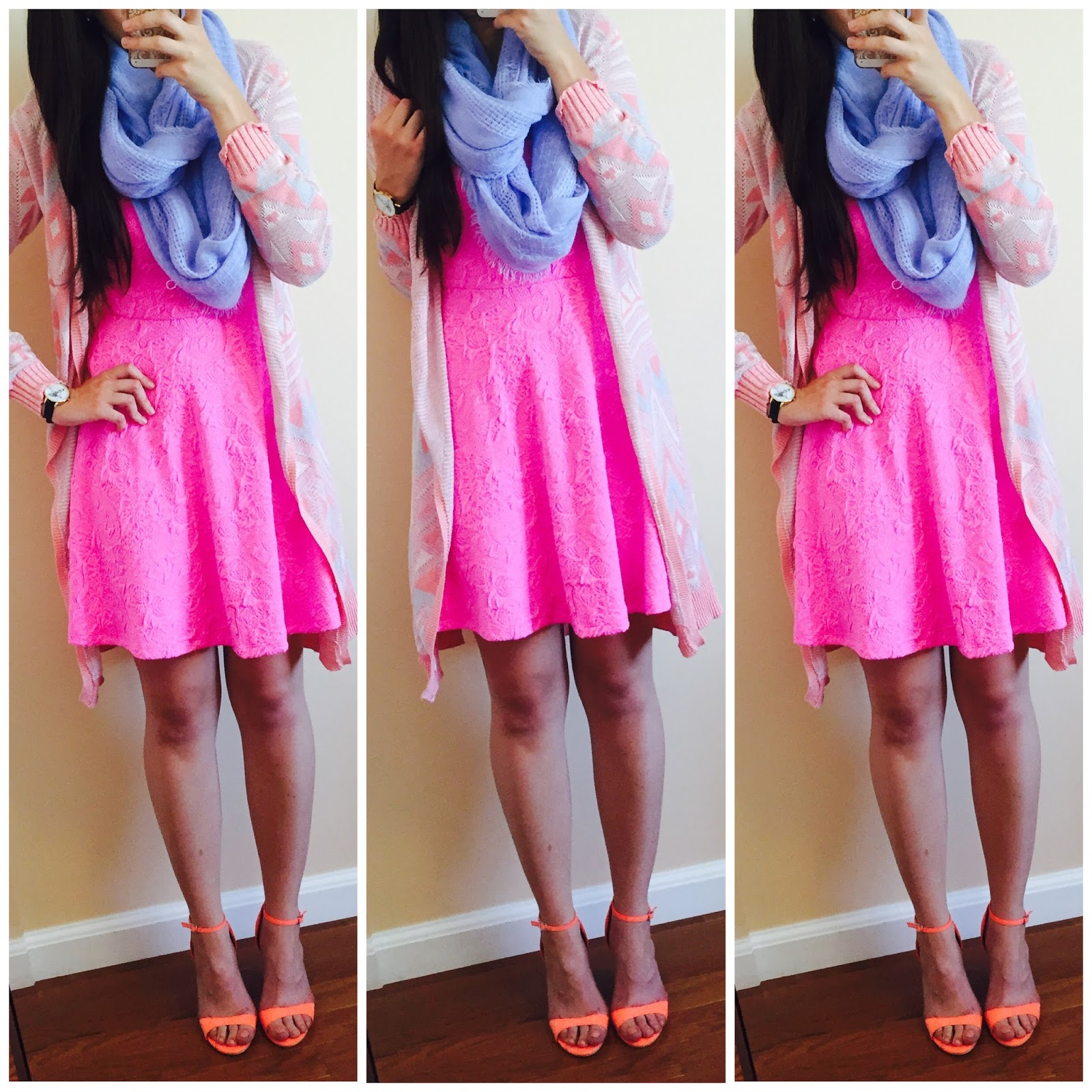 20 ways to style a pink dress, pink blush, pink dress with a sweater over it, knit sweater, brown over the knee boots, amiclubwear, fall outfit, how to style a dress for fall with boots,  two toned over the knee boots, pink knit sweater over a pink dress, how to style a knit sweater, fall to winter outfit, winter outfit, ankle booties, pinkblush draped cardigan, striped cardigan, ankle booties, grey cardigan, beige over the knee boots, white scarf, how to make a summer dress into a fall outfit, aztec cardigan, pastel colors for fall,