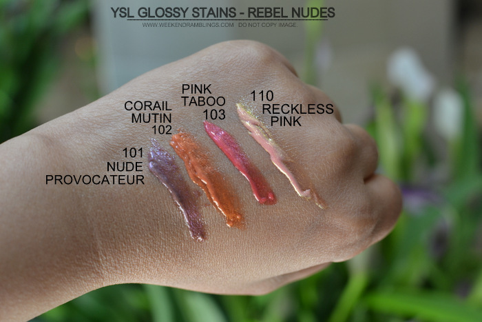 YSL Glossy Stains Rebel Nudes Swatches 101 Nude Provocateur 102 Corail Mutin 103 Pink Taboo 110 Reckless Pink Indian Darker Skin Makeup Beauty Blog