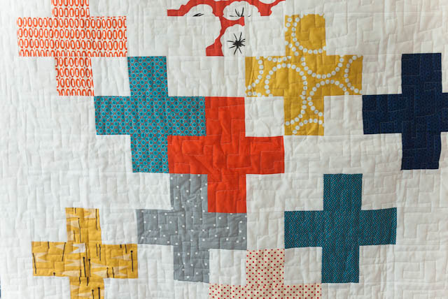 blue orange yellow plus cross baby quilt