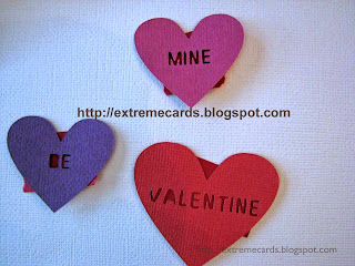 red backing paper conversation hearts