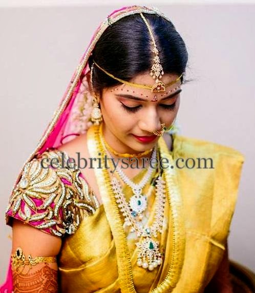 Bride in Zardosi Glitter Blouse