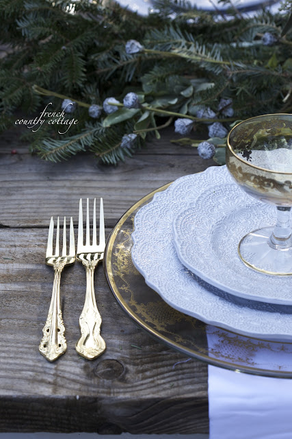 Details of place setting- gold flatware