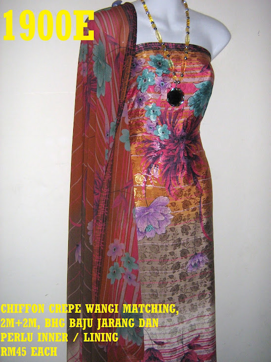 CCW 1900E: CHIFFON CREPE WANGI MATCHING, 2M+2M, BHG BAJU JARANG DAN PERLU INNER / LINING
