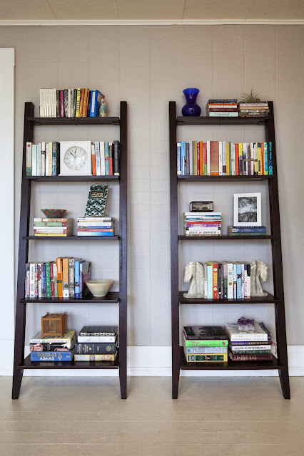 unique ladder-like dark wood material book shelf