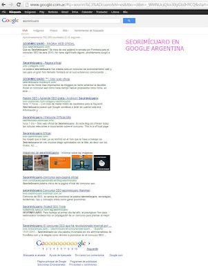 POSICIONAMIENTO DE LA PALABRA SEORIMÍCUARO EN GOOGLE ARGENTINA Y EL PUESTO QUE OCUPA http://retoforobeta2013.blogspot.com/ EN ESE BUSCADOR