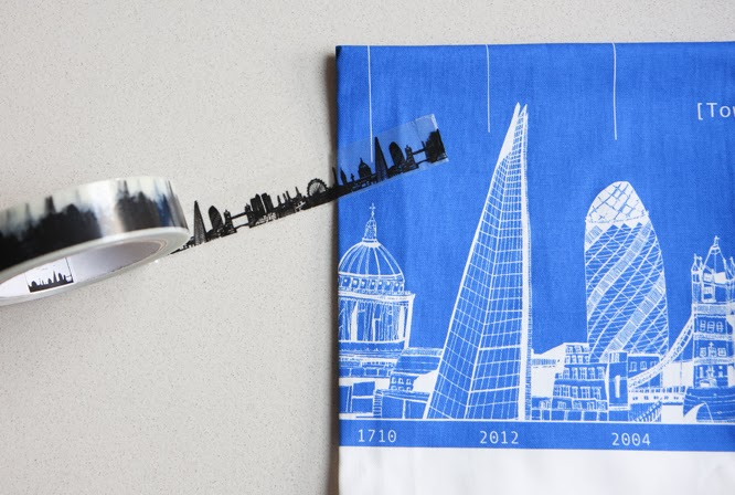 London Skyline tea towel and sticty tape by Cecily Vessey