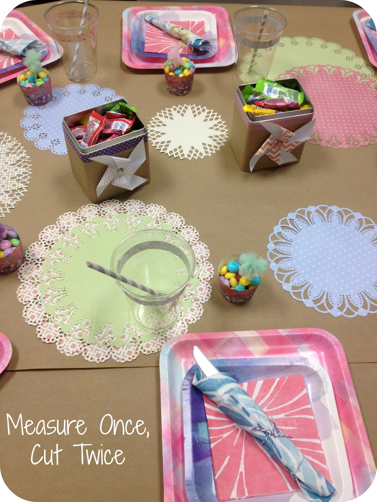 Scrapbook theme ideas - Then Covered The Kraft Paper In Homemade Doilies That I Cut From All Sorts Of Pastel Scrapbook Paper