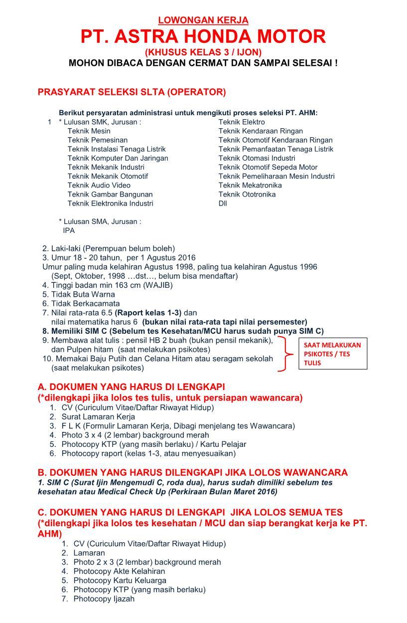 bkk ''karya tama'' smk negeri 2 karanganyar : lowongan pt. ahm
