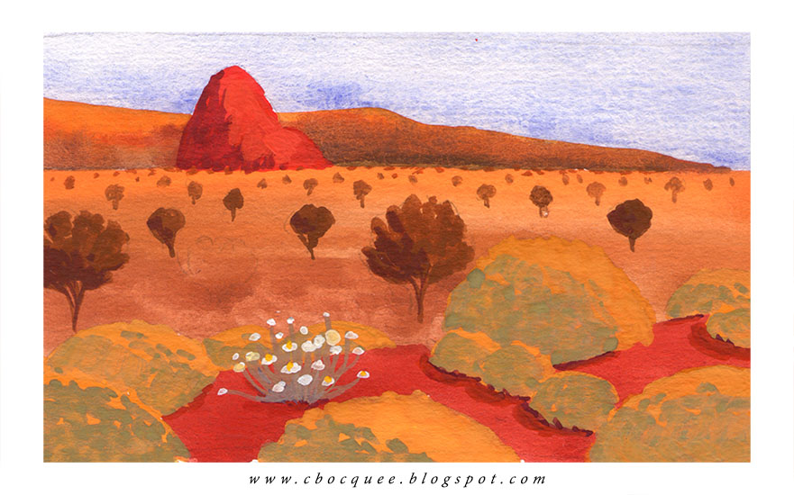 imaginary landscape painting in gouache