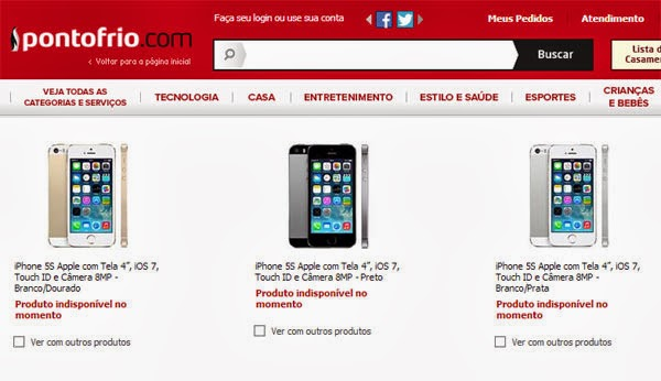iPhone 5s no site do Ponto Frio