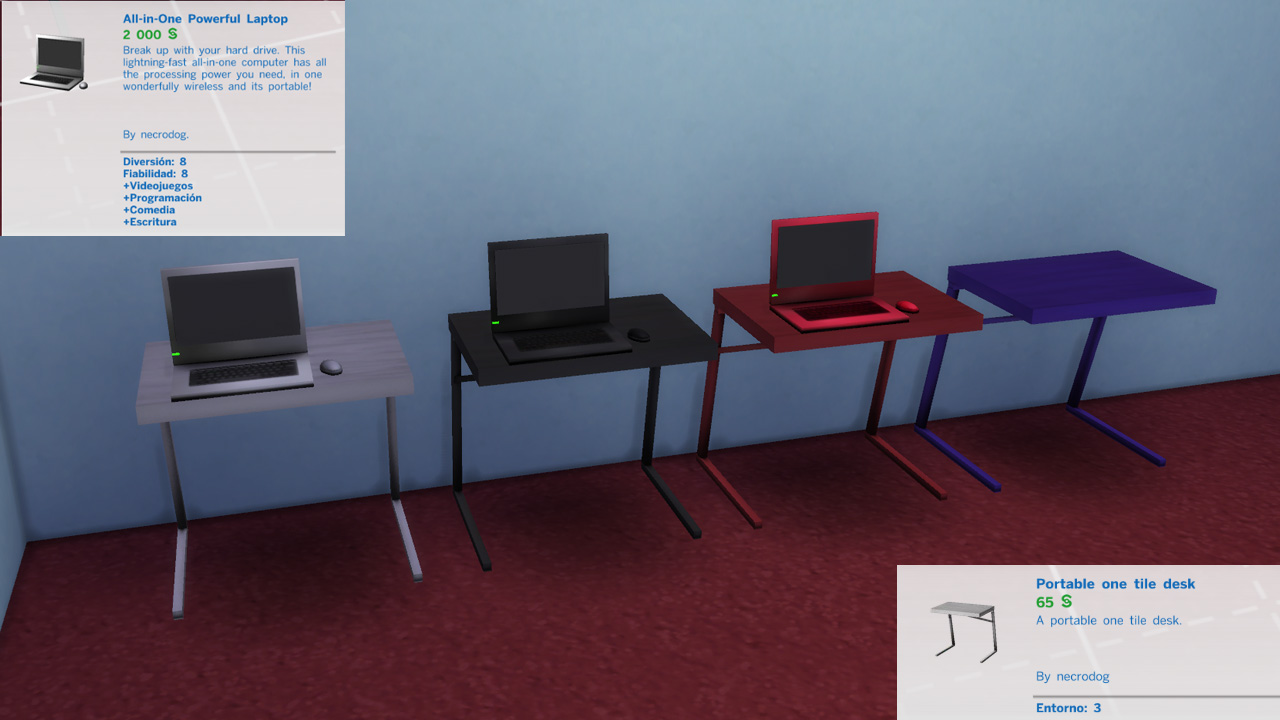 Sims 4 Blog: Portable kit. Laptop, desk and chair modern. by necrodog