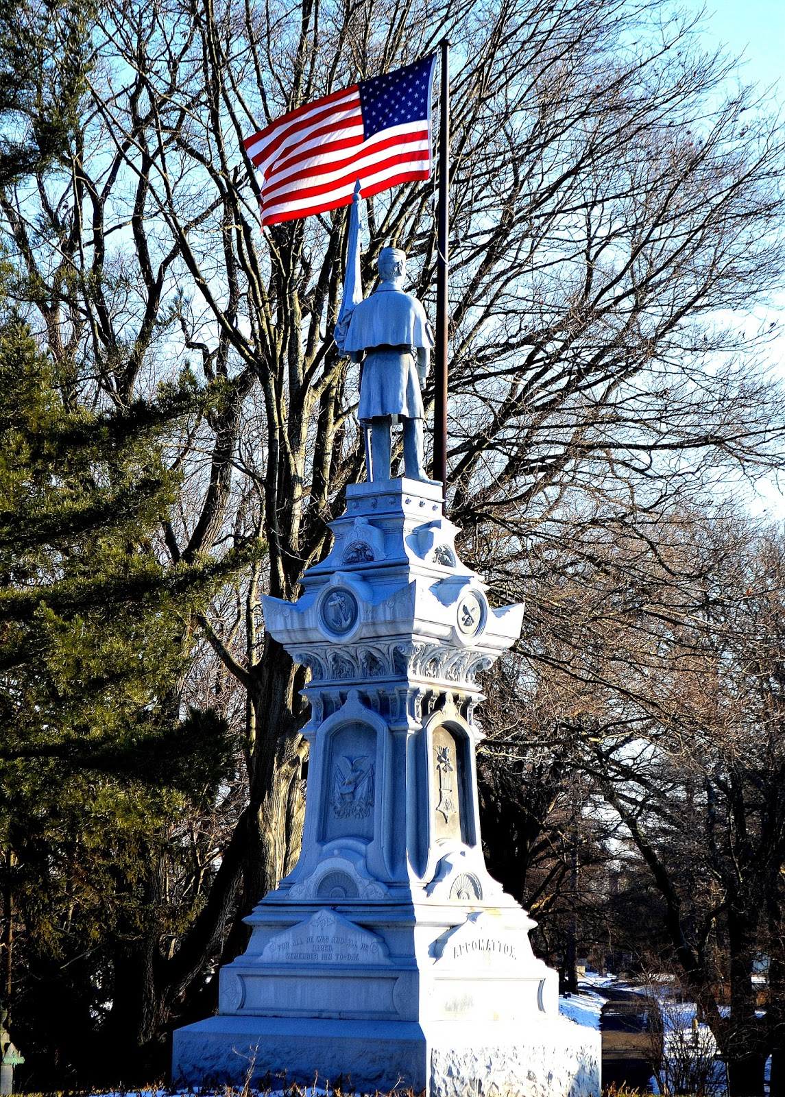 civil war, monument, cemetery, salem, massachusetts, shadow