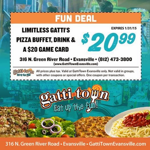 GattiTown Evansville January 2015 Coupon