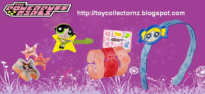 McDonalds Powerpuff Girls Happy Meal Toys 2011 - Australia and New Zealand release - Powerpuff Girls Bangles, Blossom Star Ring, Buttercup Hair Clip, Bubbles Head Band