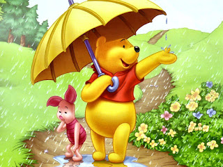 Winnie Pooh bajo la lluvia