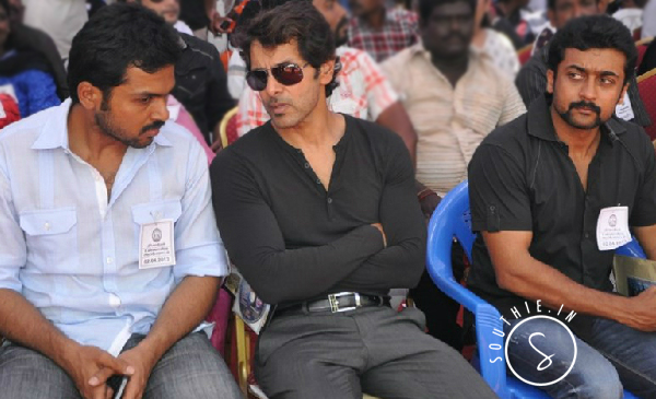 Karthi, Vikram and Suriya are considered for brothers remake in Tamil. Suriya, Vikram, Karthi, at a event protesting with Film members.