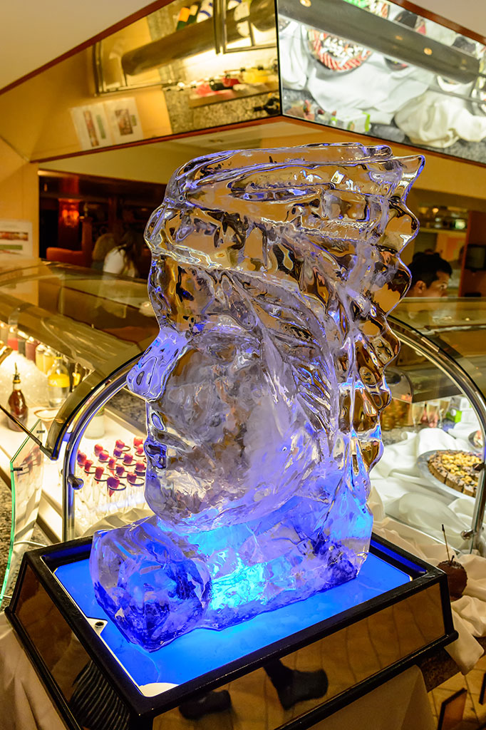 Native American Ice Carving display during Chocoholic Buffet on the Norwegian Pearl