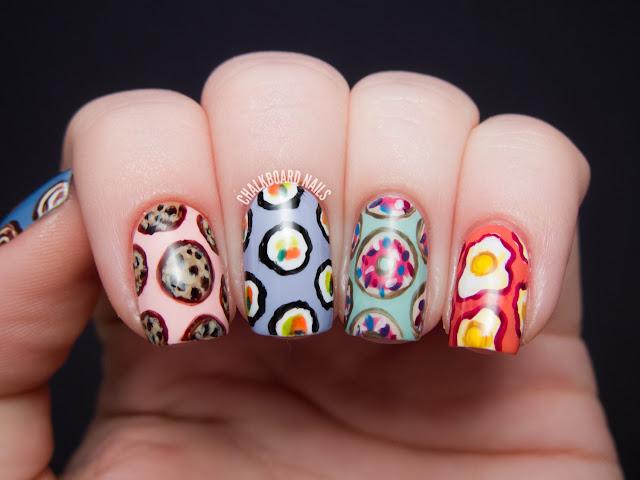 Chalkboard Nails: Seven deadly sins nail art (gluttony)