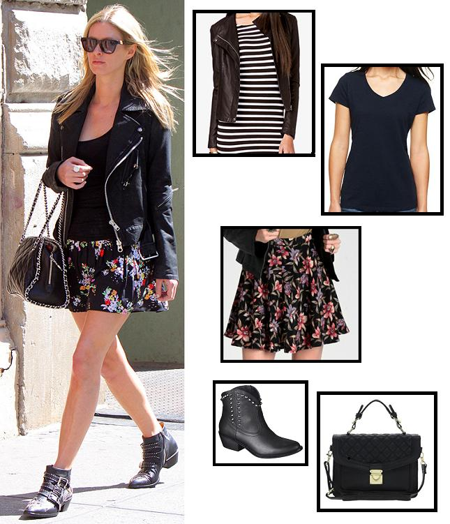 ASOS, celebrity street style, celebrity style, fashion, floral, forever 21, jcp, moto jacket, nicky hilton, spring fashion, street style, style, super style steals, target, thread Sense, budget fashion, get the look, look for less