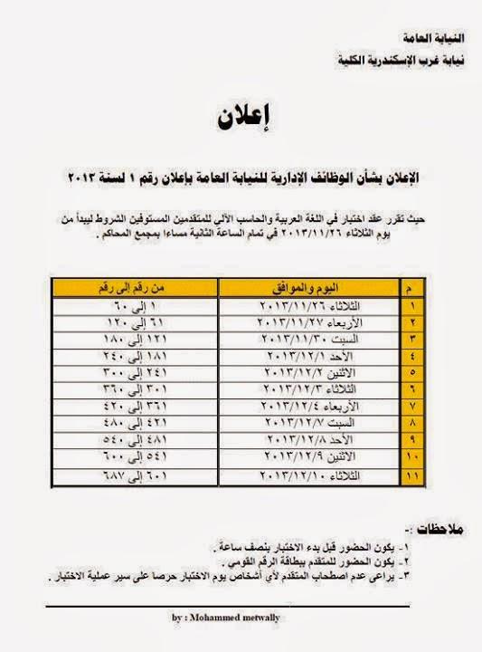 موعد اختبارات النيابة العامة فى محافظة الاسكندرية 2013