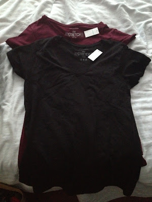Primark Stretch T-shirts in black and burgundy - £3.00 each