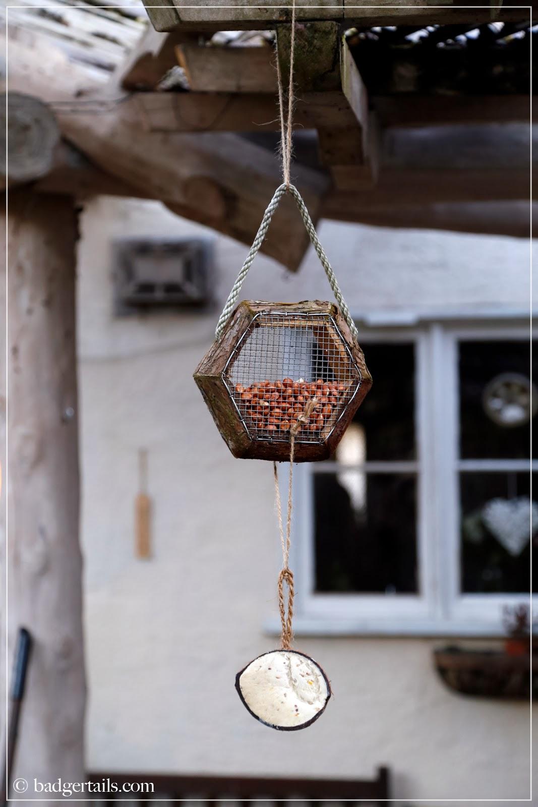 hand tied bird feeder for winter