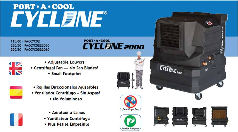 Portacool Cyclone 2000 Evaporative Cooler Europe