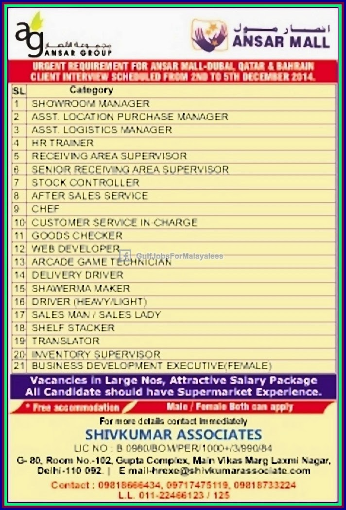 Ansar Group Job Vacancies For Dubai Qatar Bahrain