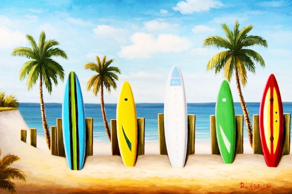 Im genes arte pinturas paisajes con palmas y tablas de surf - Dibujos para tablas de surf ...