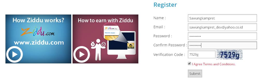 Ziddu - Registrasi Pendaftaran