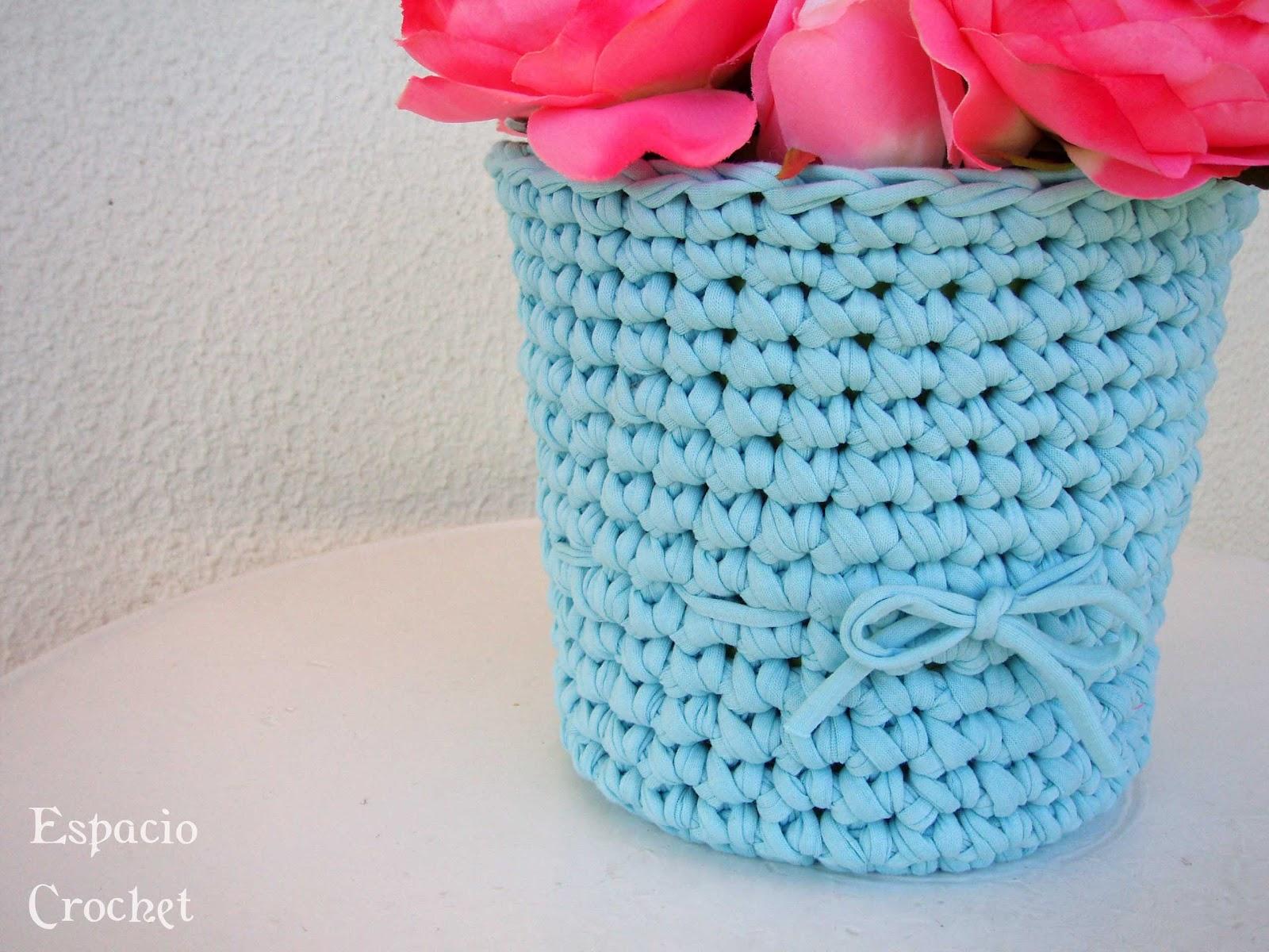 Florero de trapillo espacio crochet - Puntos crochet trapillo ...