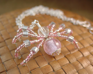 Silver Foil Glass Spider Pendant made by Shore Debris on etsy