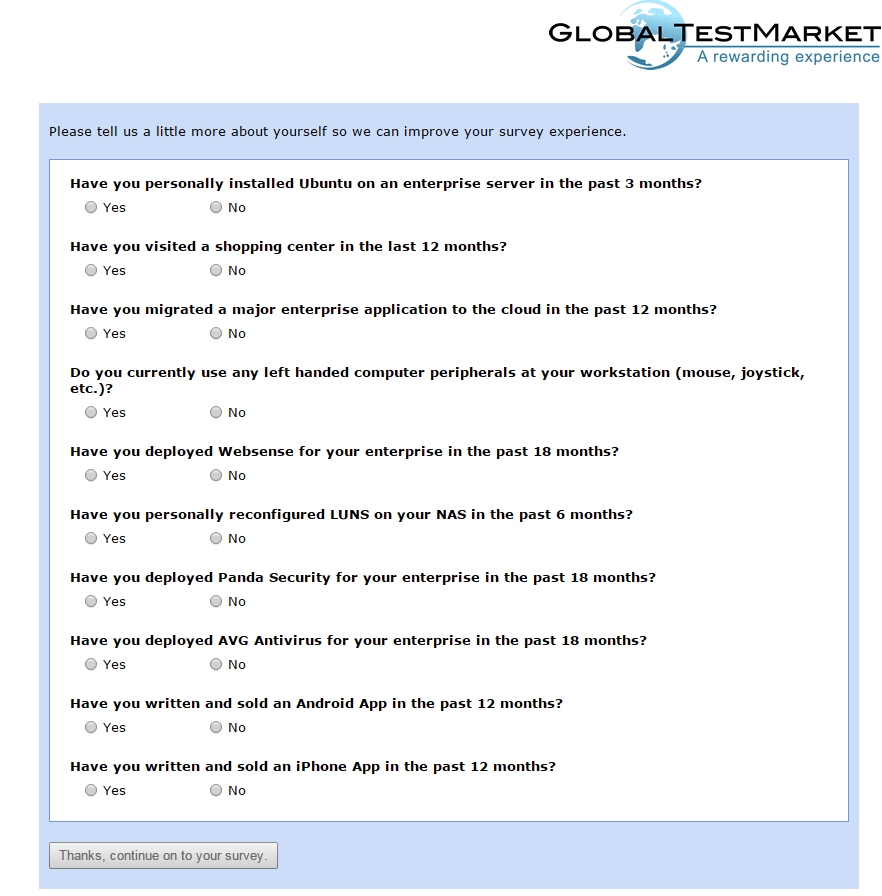 The main survey page