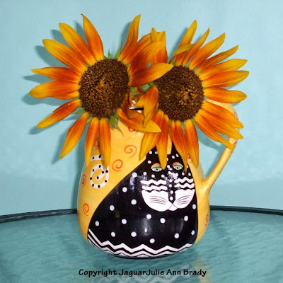 Some Final Autumn Beauty Sunflowers in a Laurel Burch Cat Vase