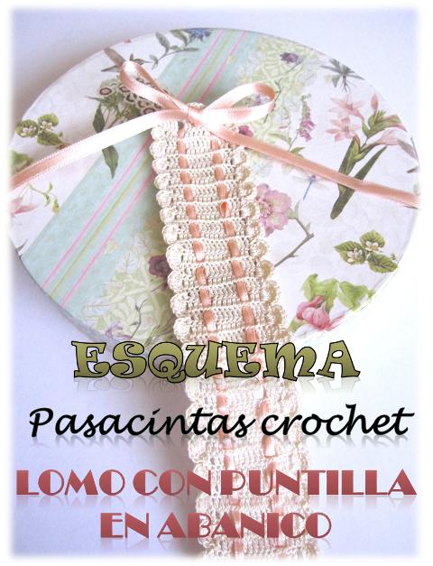 foto 5 pasacintas crochet: foto acceso al esquema descargable del pasacintas con puntilla en forma de abanico de crochet para utilizar como guarda lomos de álbumes de scrapbook