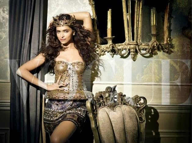 Deepika-Padukone-metal-corset-and-mini-skirt-in-Vogue-Magazine