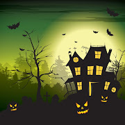 20. Free vector Halloween scary hunted house template