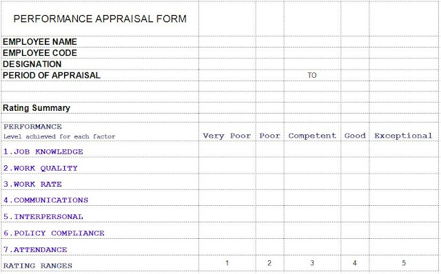 performance appraisal template excel