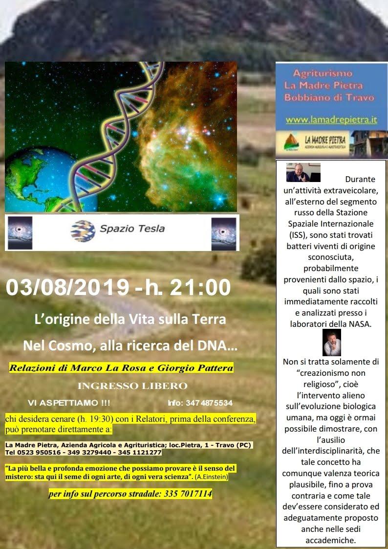 L'ORIGINE DELLA VITA SULLA TERRA: NEL COSMO, ALLA RICERCA DEL DNA