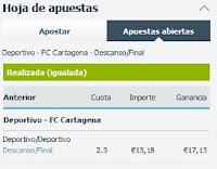 Apuestas Rosberg Fútbol – Liga Adelante España  Deportivo-Cartagena Betfair