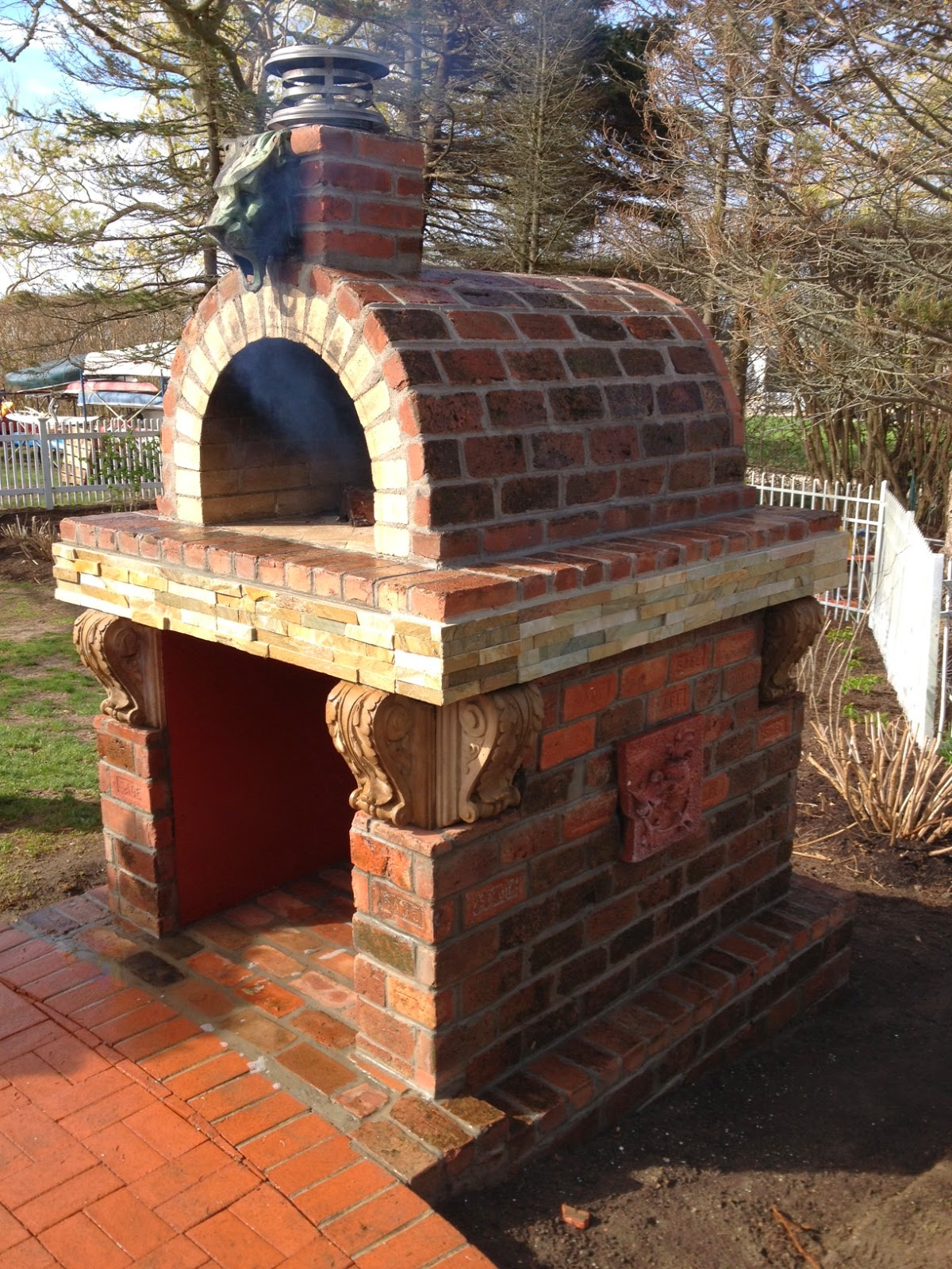 Gothic Wood Fired Brick Pizza Oven With Gargoyle By