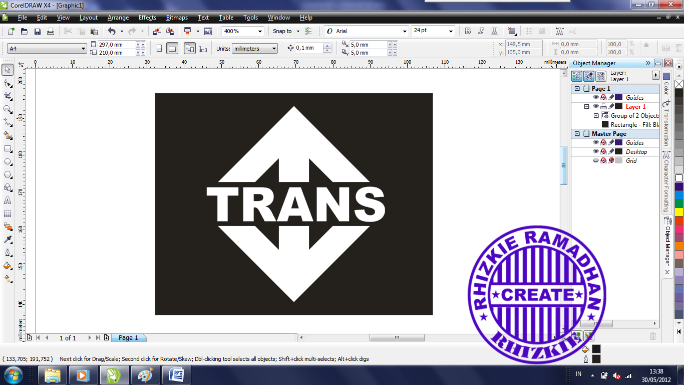 TUTORIAL COREL DRAW CARA MEMBUAT LOGO TRANS TV ~ Rhizkie Share